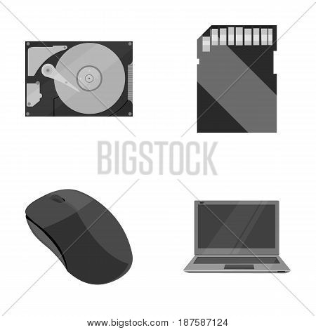 Computer mouse, laptop and other equipment. Personal computervset collection icons in monochrome style vector symbol stock illustration .