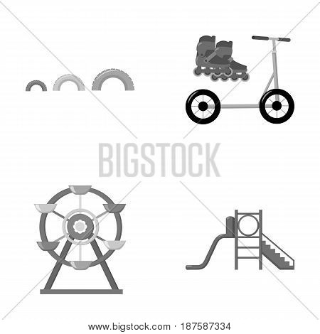 Ferris wheel with ladder, scooter. Playground set collection icons in monochrome style vector symbol stock illustration .