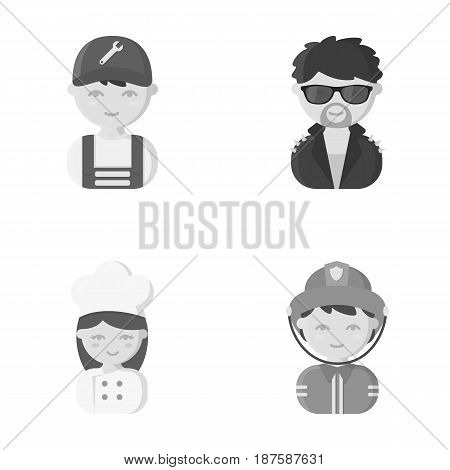 Mechanic, entertainer, cook, fireman.Profession set collection icons in monochrome style vector symbol stock illustration .
