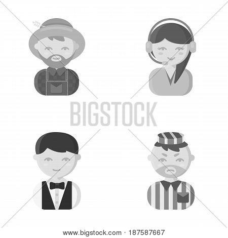 Farmer, operator, waiter, prisoner.Profession set collection icons in monochrome style vector symbol stock illustration .