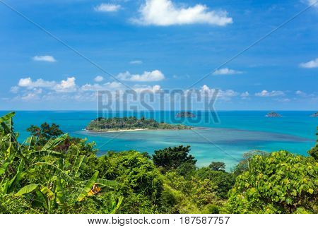 Beautiful tropical island landscape. View from Koh Chang to Koh Man Nai