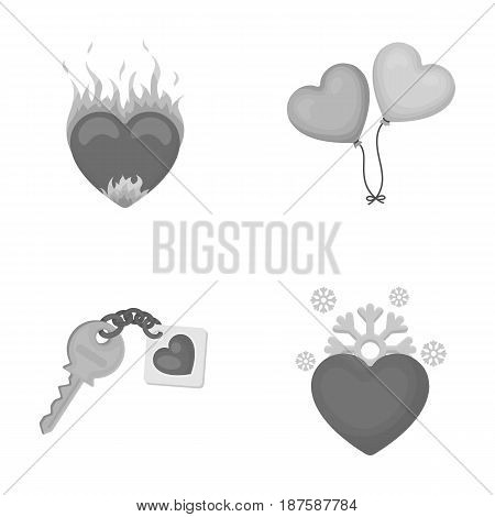 Hot heart, balloons, a key with a charm, a cold heart. Romantic set collection icons in monochrome style vector symbol stock illustration .