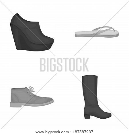 Autumn black shoes on a high platform, flip-flops green for relaxation, sandy men s autumn shoes, high brown boots. Shoes set collection icons in monochrome style vector symbol stock illustration .