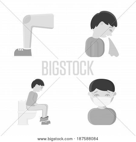 A foot with a bruise in the knee, sneezing sick, a man sitting on the toilet, a man in a medical mask. Sick set collection icons in monochrome style vector symbol stock illustration .