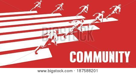 Community with Business People Running in a Path 3D Illustration Render