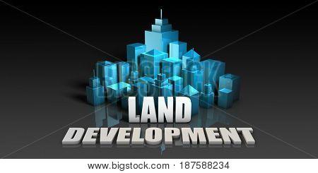 Land Development Concept in Blue on Black Background 3D Illustration Render
