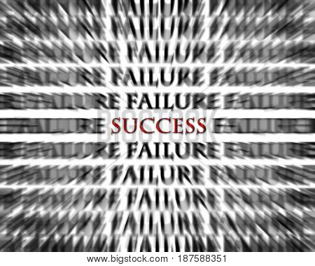 Success word in midst of failure words opposite to succeed