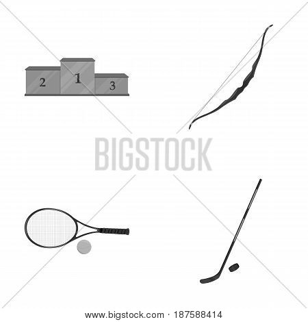 Pedestal of honor for the winners, bow for shooting arrows, racket with a ball for the tennis, hockey stick and puck. Sports set collection icons in monochrome style vector symbol stock illustration .