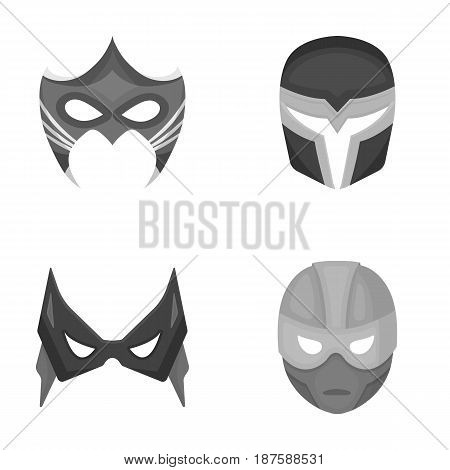 Mask on the head and eyes. Super Hero Mask set collection icons in monochrome style vector symbol stock illustration .