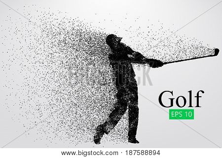 Silhouette of a golf player. Background and text on a separate layer, color can be changed in one click. Vector illustration