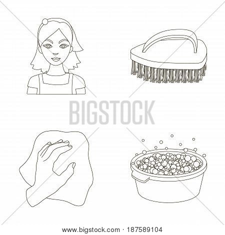 A cleaning woman, a housewife in an apron, a green brush, a hand with a rag, a blue wash hand basin with foam. Cleaning set collection icons in outline style vector symbol stock illustration .