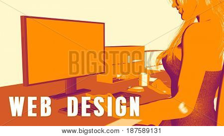 Web design Concept Course with Woman Looking at Computer 3D Illustration Render