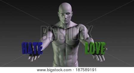 Hate or Love as a Versus Choice of Different Belief 3D Illustration Render