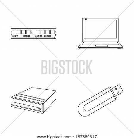 Flash drive, laptop, memory card.Personal computer set collection icons in outline style vector symbol stock illustration .