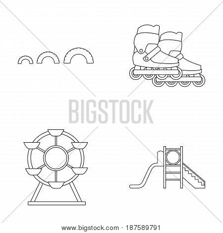 Ferris wheel with ladder, scooter. Playground set collection icons in outline style vector symbol stock illustration .