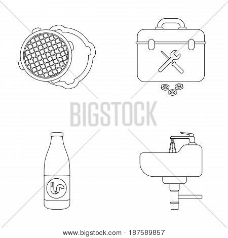 A sewer hatch, a tool box, a wash basin and other equipment.Plumbing set collection icons in outline style vector symbol stock illustration .