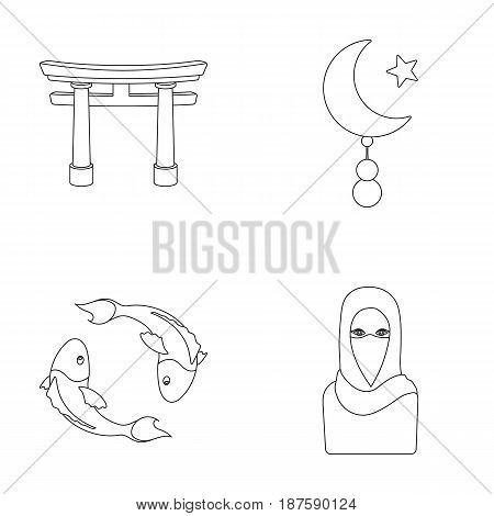 Torii, carp koi, woman in hijab, star and crescent. Religion set collection icons in outline style vector symbol stock illustration .
