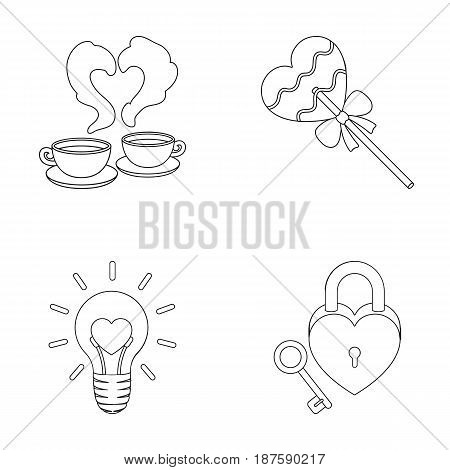 Cups with coffee, valentine, lamp, lock with key. Romantic set collection icons in outline style vector symbol stock illustration .