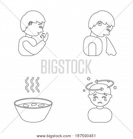 A sneezing man, a boy with a handkerchief, a patient with a headache, a hot broth, a drink in a plate, a cup. Sick set collection icons in outline style vector symbol stock illustration .
