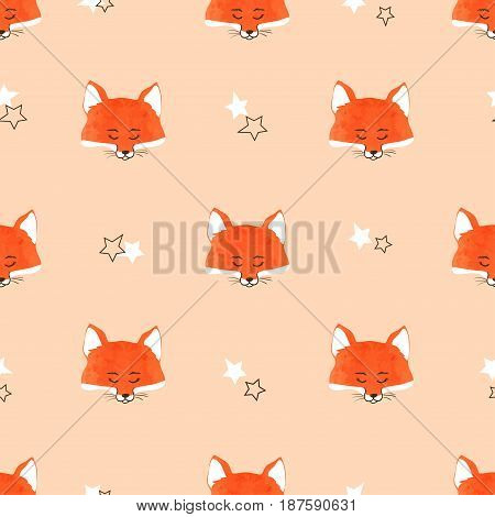Seamless cute foxes pattern. Vector background with fox heads.