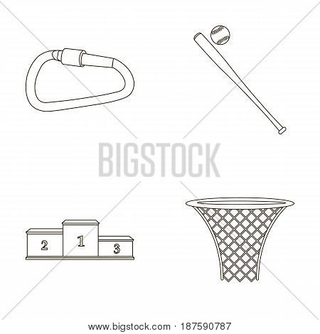 A lock for a bicycle, a ball with a ball for baseball, a podium, a basket with a basket for basketball. Sport set collection icons in outline style vector symbol stock illustration .