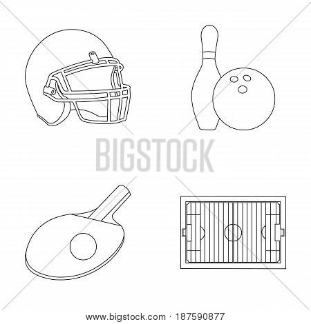 Keglie and bowling ball, protective helmet for rugby, racket and ball for playing ping-pong, field, stadium for football. Sport set collection icons in outline style vector symbol stock illustration .