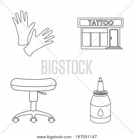 Protective gloves, salon, chair, ink. Tattoo set collection icons in outline style vector symbol stock illustration .
