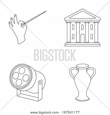 Conductor s baton, theater building, searchlight, amphora.Theatre set collection icons in outline style vector symbol stock illustration .