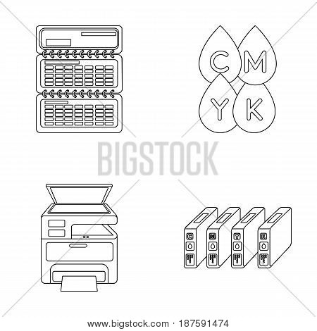 Calendar, drops of paint, cartridge, multifunction printer. Typography set collection icons in outline style vector symbol stock illustration .