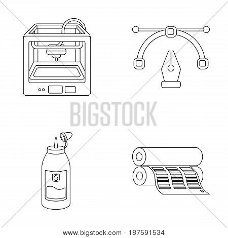 3D printer, newspaper printer, ink, pen. Typography set collection icons in outline style vector symbol stock illustration .