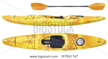side and top view of crossover kayak (whitewater and river running kayak) and paddle isolated on white