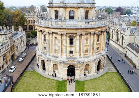 OXFORD/ UK- OCTOBER 26 2016: Elevated View Of Radcliffe Camera Building In Oxford