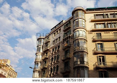 BARCELONA - JULY 29, 2016: Modernist building on a corner in the Gothic Quarter