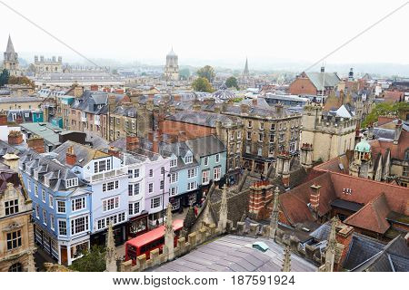 OXFORD/ UK- OCTOBER 26 2016: Aerial View Of Oxford City From Church Of St Mary The virgin