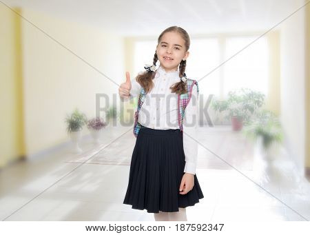 Beautiful little blond schoolgirl, with long neatly braided pigtails. In a white blouse and a long dark skirt.She shows her thumb. The gesture is okay.In the room with the big bright window in the wall.