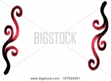 Burgundy red beautiful mirror spiral spirally art deco hand painted decorations