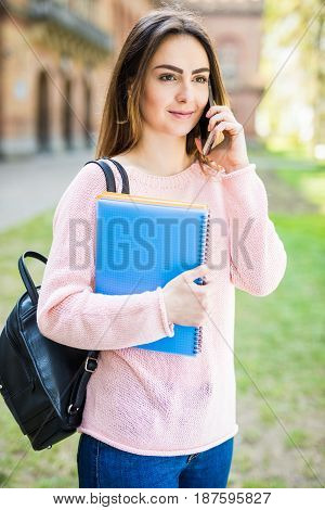 Happy Student Girl Speaking Mobile Outdoors Summer Campus Exam Time