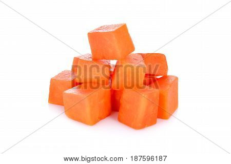 ripe cube papaya on a white background
