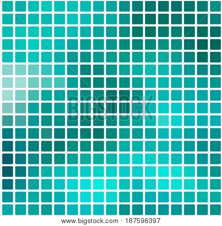 Turquoise Green Rounded Mosaic Background Over White Square