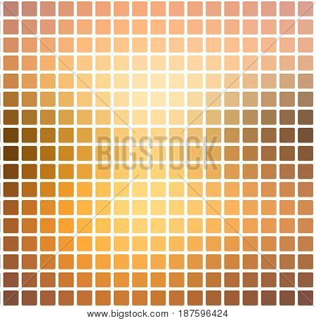 Yellow Coral Pink Black Rounded Mosaic Background Over White Square