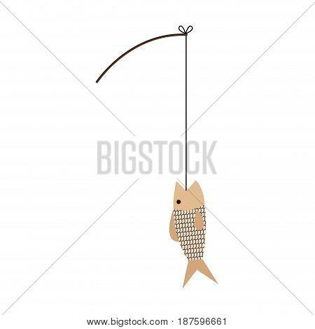 sishing rod and fish hobby sport activity vector illustration