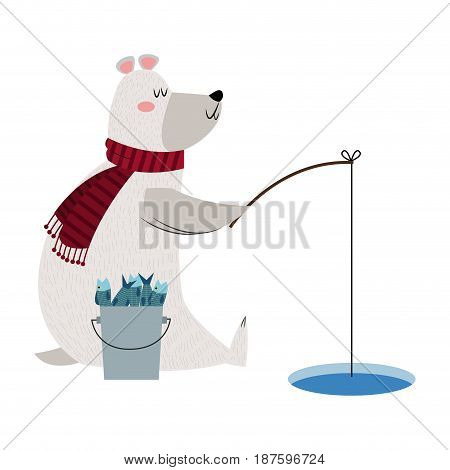 christmas bear fishing bukcet fish rod ice image vector illustration