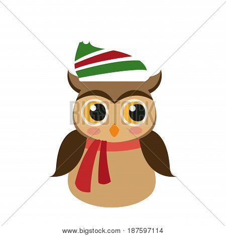 owl in christmas hat and scarf festive image vector illustration