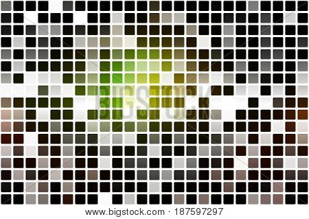 Green Brown Yellow Black Occasional Opacity Mosaic Over White