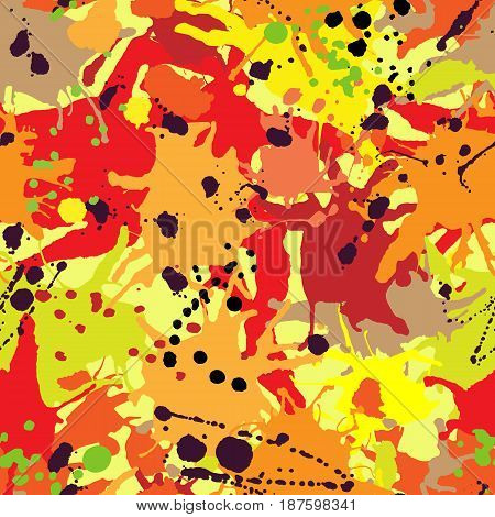 Red Orange Maroon Ink Paint Splashes Seamless Pattern