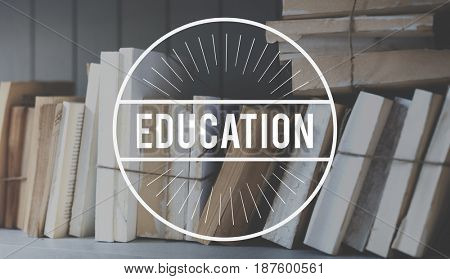 Books Knowledge Study Education Word Stamp Banner Graphic