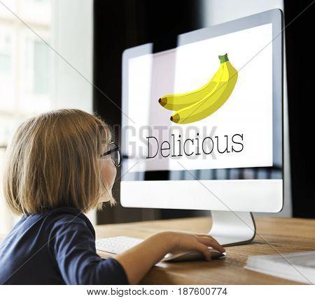 Illustration of fresh organic delicious banana on computer