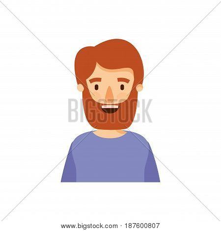 colorful caricature half body man bearded with t-shirt vector illustration