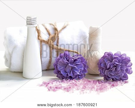 Spa Treatments and massage on wooden white soft and select focus