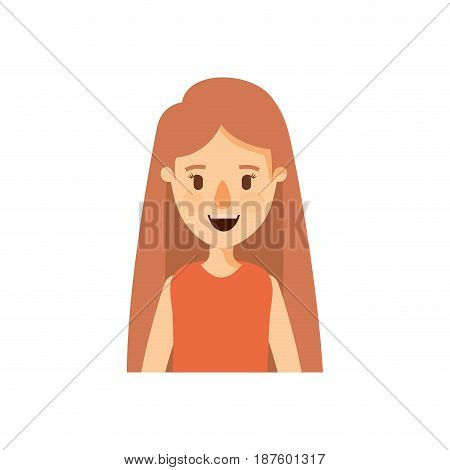 colorful caricature half body woman with long straight hair vector illustration